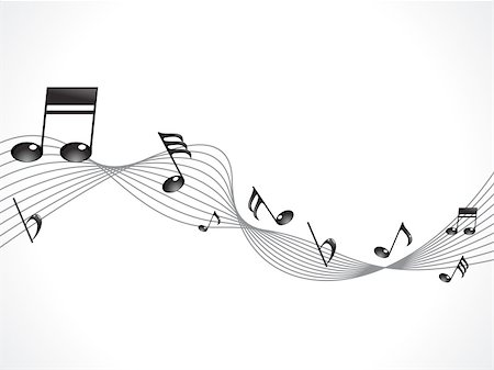 abstract musical note with wave vector illustration Stock Photo - Budget Royalty-Free & Subscription, Code: 400-05687939
