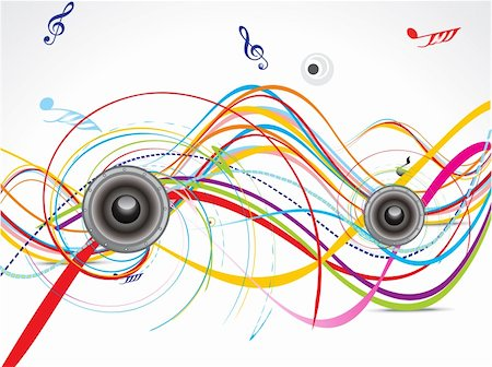 fun happy colorful background images - abstract musical background with wave vector illustration Stock Photo - Budget Royalty-Free & Subscription, Code: 400-05688505