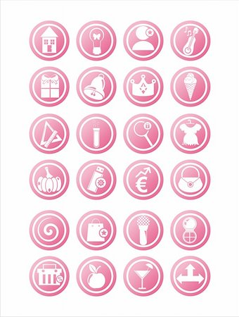 set of 21 pink web signs Stock Photo - Budget Royalty-Free & Subscription, Code: 400-05688604
