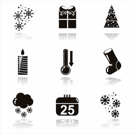set of 9 black christmas icons Stock Photo - Budget Royalty-Free & Subscription, Code: 400-05688605