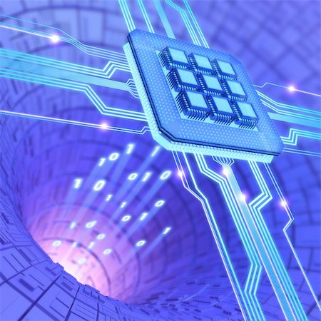 Central Processing Unit. A processor (microchip) interconnected receiving and sending information. Concept of technology and future. Stock Photo - Budget Royalty-Free & Subscription, Code: 400-05688941