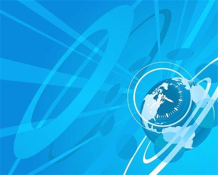 Blue globe clock background illustration Stock Photo - Budget Royalty-Free & Subscription, Code: 400-05689311