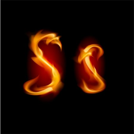 Fiery font. Letter S. Illustration on black background Stock Photo - Budget Royalty-Free & Subscription, Code: 400-05680092