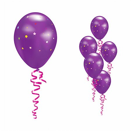 simsearch:400-04369855,k - Violet Balloons with stars and ribbons. Vector illustration. Stock Photo - Budget Royalty-Free & Subscription, Code: 400-05680106
