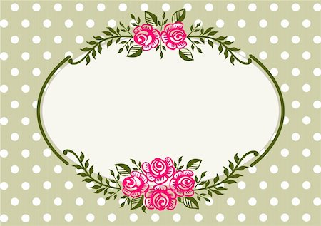 Ornamental pink roses frame on green polka dot background  with space for your text or design Stock Photo - Budget Royalty-Free & Subscription, Code: 400-05680244