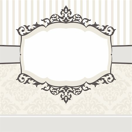 elegant wedding floral graphic - abstract cute decorative vintage frame vector illustration Stock Photo - Budget Royalty-Free & Subscription, Code: 400-05680269