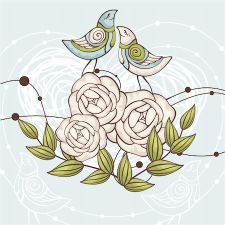 abstract cute floral vector illustration with birds Stock Photo - Budget Royalty-Free & Subscription, Code: 400-05680304