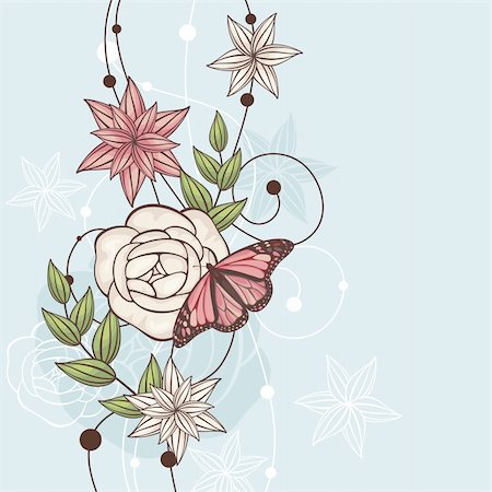 abstract cute floral vector illustration with butterfly Stock Photo - Budget Royalty-Free & Subscription, Code: 400-05680306