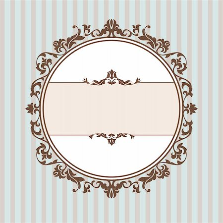 elegant wedding floral graphic - abstract cute decorative vintage frame vector illustration Stock Photo - Budget Royalty-Free & Subscription, Code: 400-05680303