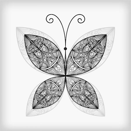 vector abstract highly detailed nonochrome  butterfly Stock Photo - Budget Royalty-Free & Subscription, Code: 400-05680392