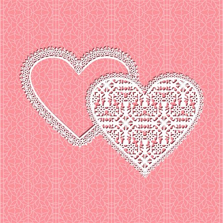simsearch:400-04872199,k - Red fine lace vector heart frame with floral pattern on lace background Stock Photo - Budget Royalty-Free & Subscription, Code: 400-05680568