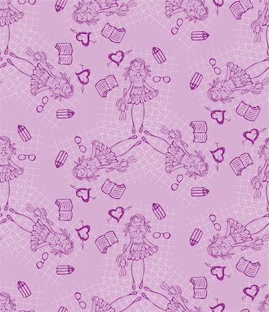 fun happy colorful background images - Baby girl purple vector seamless pattern. Glamour background.  Endless texture for textile. Stock Photo - Budget Royalty-Free & Subscription, Code: 400-05680561