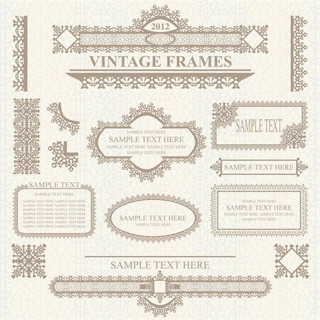 filigree - Set of design elements: labels, borders, frames, etc. Could be used for page decoration, certificate, etc Stock Photo - Budget Royalty-Free & Subscription, Code: 400-05680562