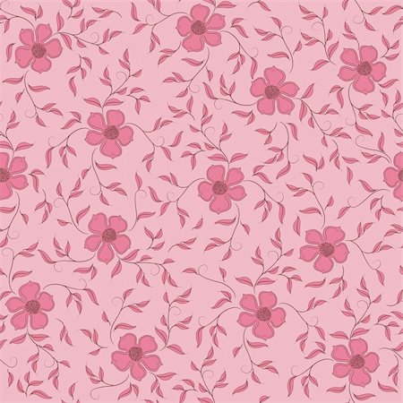 Flowers on a rose background. Floral design, in vintage style. Seamless pattern. Stock Photo - Budget Royalty-Free & Subscription, Code: 400-05680629