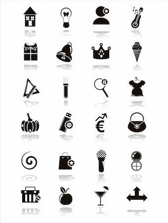 set of 21 black web icons Stock Photo - Budget Royalty-Free & Subscription, Code: 400-05680692