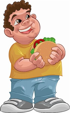 fat boy smiling and ready to eat a big hamburger Stock Photo - Budget Royalty-Free & Subscription, Code: 400-05680776