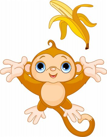 Illustration of funny Monkey trying to catch banana Stock Photo - Budget Royalty-Free & Subscription, Code: 400-05680838