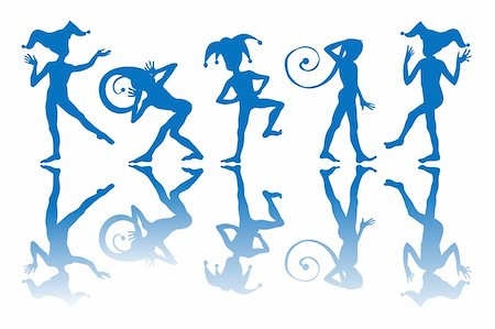 Dancing harlequins silhouettes and reflection over white background. Stock Photo - Budget Royalty-Free & Subscription, Code: 400-05680901