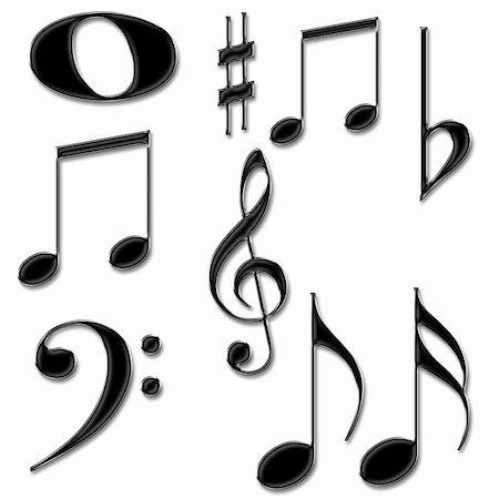 Music notes symbols isolated on a White background Stock Photo - Budget Royalty-Free & Subscription, Code: 400-05682906