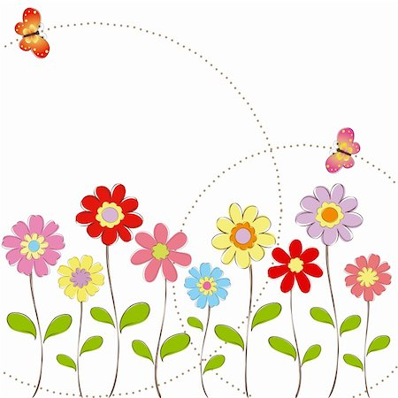 Springtime colorful flowers with butterfly greeting card Stock Photo - Budget Royalty-Free & Subscription, Code: 400-05683224