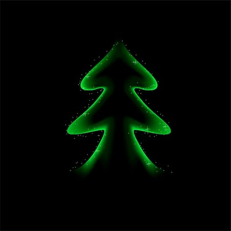 Stylized green Christmas tree on black background Stock Photo - Budget Royalty-Free & Subscription, Code: 400-05683434