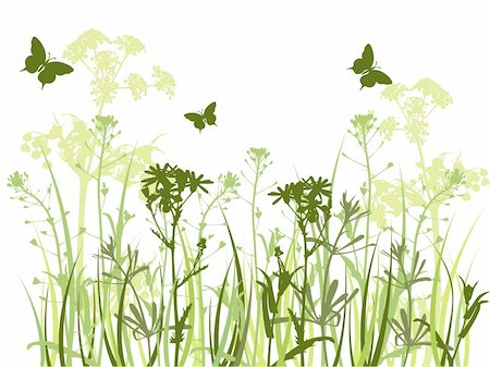 background with green grass, camomile flowers  and butterfly Stock Photo - Budget Royalty-Free & Subscription, Code: 400-05683502