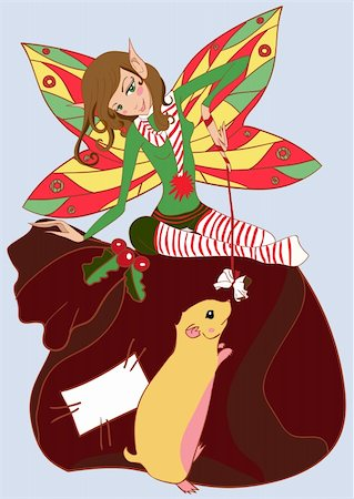 Funny christmas fairy. Vector illustration Stock Photo - Budget Royalty-Free & Subscription, Code: 400-05683592