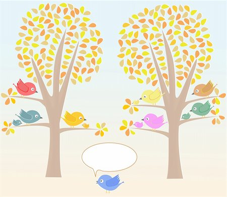 Greeting card with cute birds under tree vector Stock Photo - Budget Royalty-Free & Subscription, Code: 400-05694042
