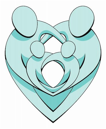 family abstract - An illustration of a loving family holding each other protectively forming interlocking heart shapes. Stock Photo - Budget Royalty-Free & Subscription, Code: 400-05694266