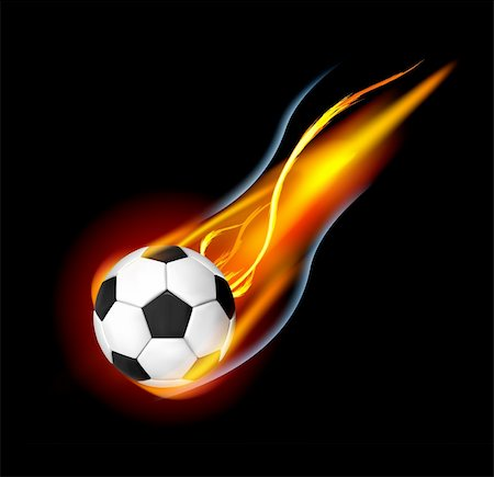 sparks with white background - Soccer Ball on Fire. Illustration on black background Stock Photo - Budget Royalty-Free & Subscription, Code: 400-05694519