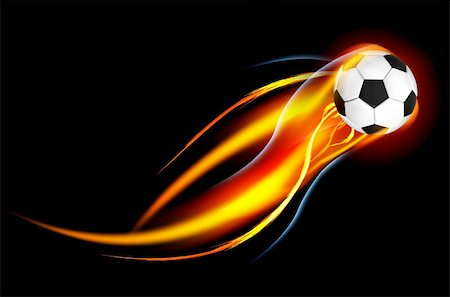 sparks with white background - Soccer Ball on Fire. Illustration on black background Stock Photo - Budget Royalty-Free & Subscription, Code: 400-05694520