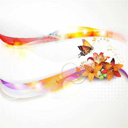 Colorful background with butterfly and flowers Stock Photo - Budget Royalty-Free & Subscription, Code: 400-05694703