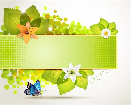 Banner design with leaf, flowers and butterflies Stock Photo - Budget Royalty-Free & Subscription, Code: 400-05694730