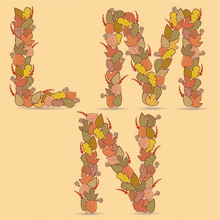 plant leaf paintings graphic - L,M,N Vector colorful font. Autumn theme, leaves and berries. Stock Photo - Budget Royalty-Free & Subscription, Code: 400-05695632