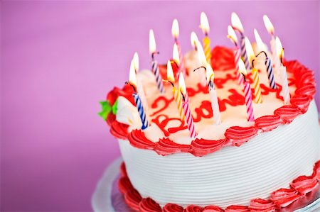 Birthday cake with burning candles on a plate on pink background Stock Photo - Budget Royalty-Free & Subscription, Code: 400-05695714