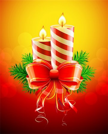 Vector illustration of cool Christmas candles with red bow Stock Photo - Budget Royalty-Free & Subscription, Code: 400-05695809
