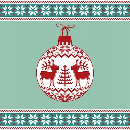 elakwasniewski (artist) - Christmas green background, ball with nordic pattern, vector illustration Stock Photo - Budget Royalty-Free & Subscription, Code: 400-05696412