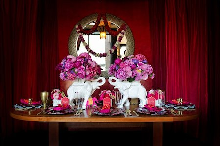 Image of a beautiful table setting for an Indian weding Stock Photo - Budget Royalty-Free & Subscription, Code: 400-05697296