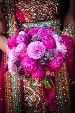 Image of an Indian brides hands holding bouquet Stock Photo - Budget Royalty-Free & Subscription, Code: 400-05697301