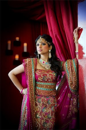 Image of a beautiful Indian bride standing Stock Photo - Budget Royalty-Free & Subscription, Code: 400-05697303