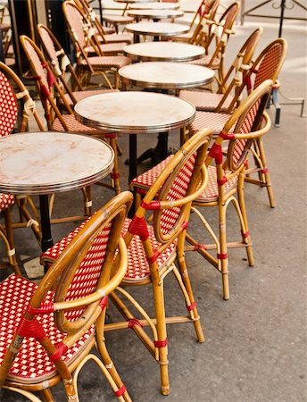 Empty Cafe terrace in paris,France Stock Photo - Budget Royalty-Free & Subscription, Code: 400-05697584