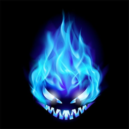 Blue Evil burning Halloween symbol. Illustration on black background Stock Photo - Budget Royalty-Free & Subscription, Code: 400-05698325
