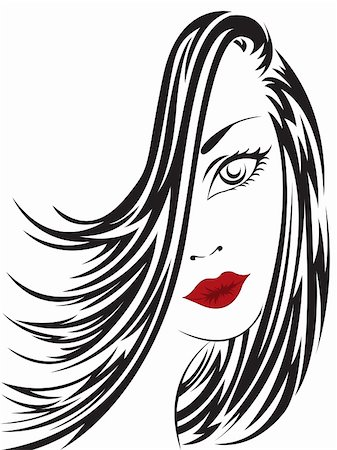 female lips drawing - portrait of a beautiful woman with long hair covering the face Stock Photo - Budget Royalty-Free & Subscription, Code: 400-05698816