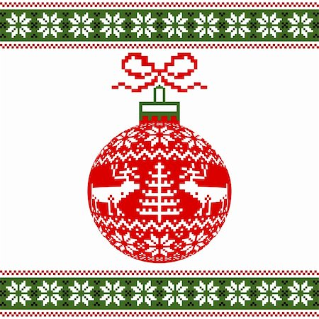 elakwasniewski (artist) - Red christmas ball with deers and nordic pattern on white background, vector illustration Stock Photo - Budget Royalty-Free & Subscription, Code: 400-05699510