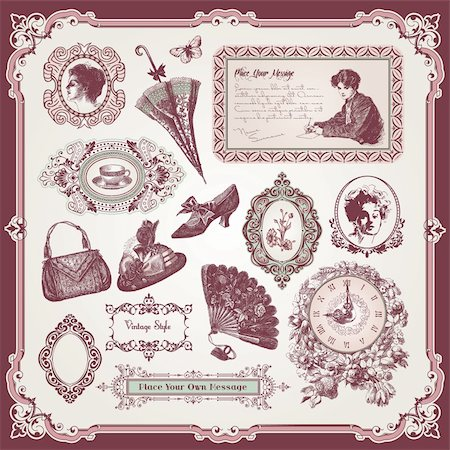 Vector illustration - collection of vintage elements Stock Photo - Budget Royalty-Free & Subscription, Code: 400-05699632