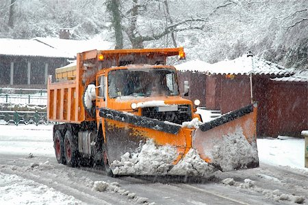 snow plow truck - Orange snow plow in action Stock Photo - Budget Royalty-Free & Subscription, Code: 400-05690318