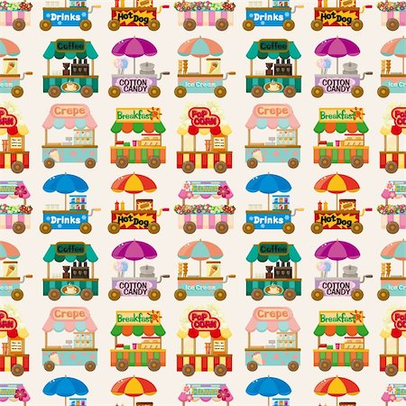sandwich wrapper - cartoon market store car seamless pattern Stock Photo - Budget Royalty-Free & Subscription, Code: 400-05690545