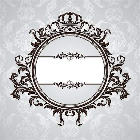 elegant wedding floral graphic - abstract royal vintage floral frame vector illustration Stock Photo - Budget Royalty-Free & Subscription, Code: 400-05692193
