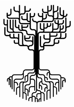 Conceptual abstract tree silhouette illustration. Tree with branches in the shape of a heart with strong roots. Love needing strong foundations or just concept for love. Stock Photo - Budget Royalty-Free & Subscription, Code: 400-05692243