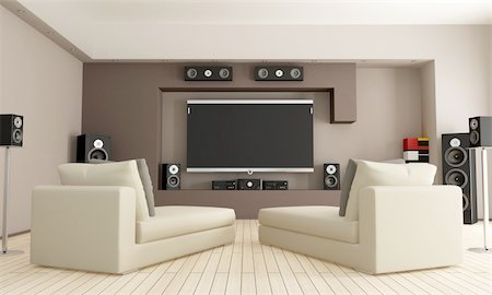 elegant living room with home theatre system - rendering Stock Photo - Budget Royalty-Free & Subscription, Code: 400-05692387